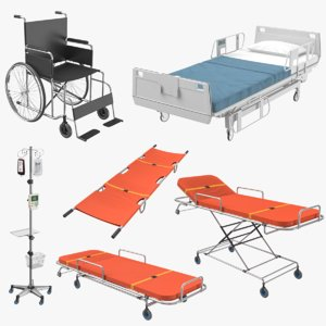 medical 01 stretcher blood 3D model