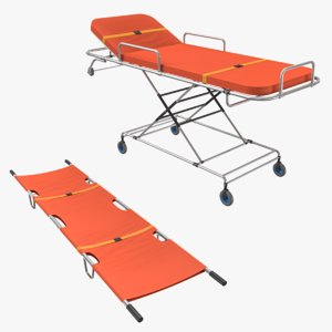 3D ambulance bed rolling stretcher