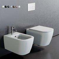 3D toilet quadra wall-hung bidet
