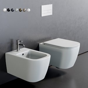3D toilet quadra wall-hung bidet