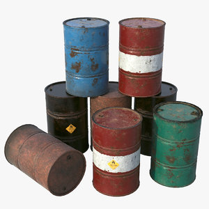pbr oil barrel 3D model