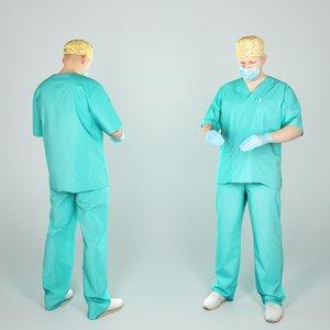 3D handsome man uniform surgeon