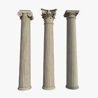 columns greek order doric 3D model