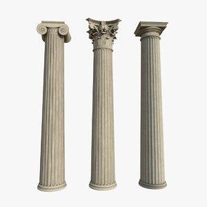 columns greek order doric 3D model