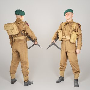 3D model scanned british commando character