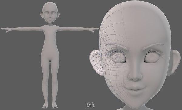 3D base mesh girl characterv14