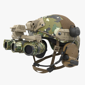 tactical helmet digital woodland camo 3D model
