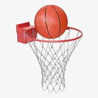basketball ball flies ring 3D model