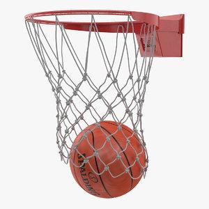 3D spalding basketball falls hoop