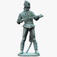 3D model statue old hussar