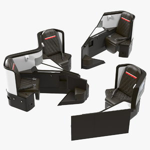 3D airplane business class seats