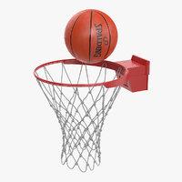 3D spalding basketball ball flies