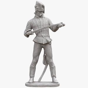 3D model statue old hussar v2