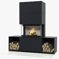 3D wood burning fireplace contura model