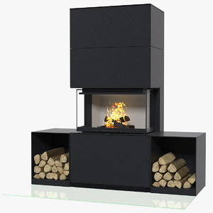3D wood burning fireplace contura model