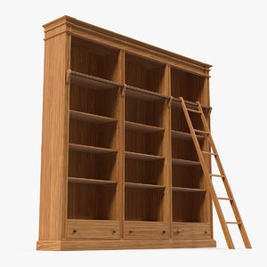 wood bookcase ladder books 3D model