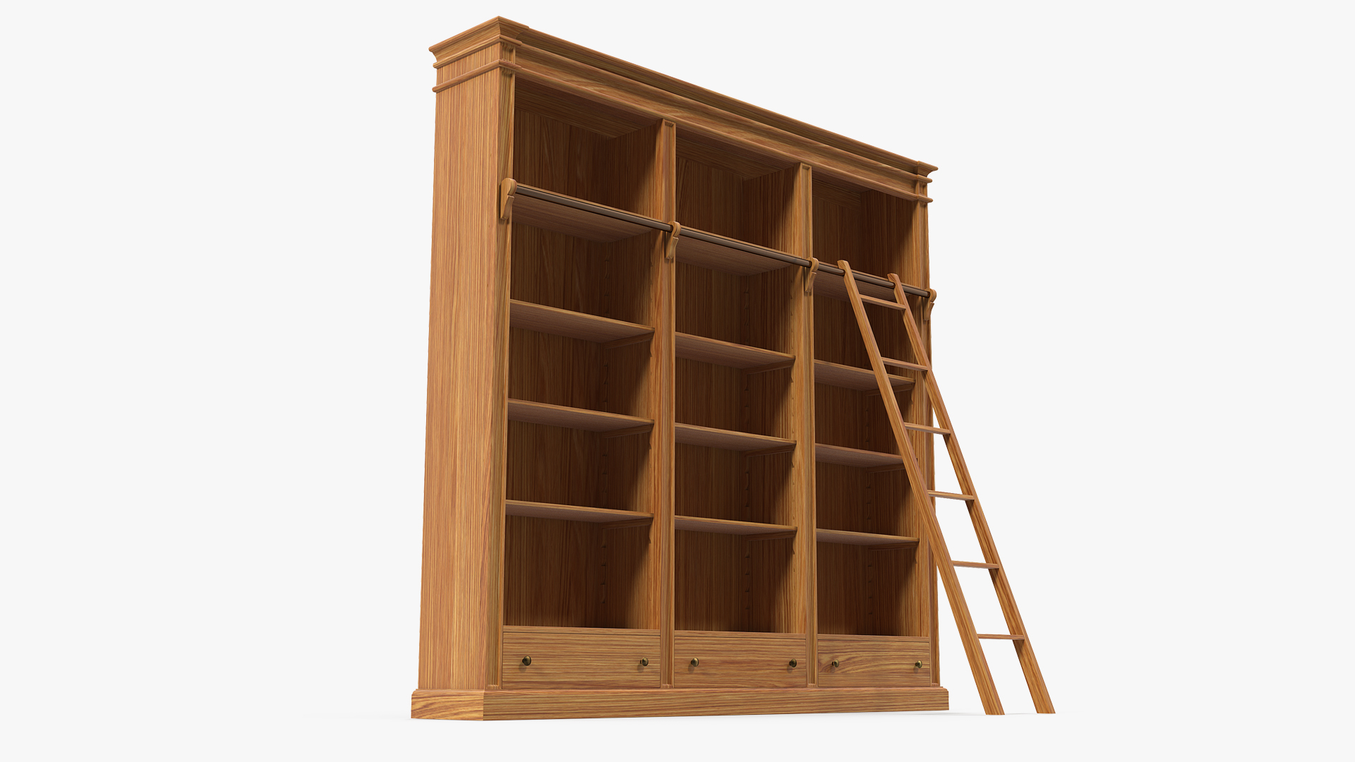 Wood Bookcase With Ladder