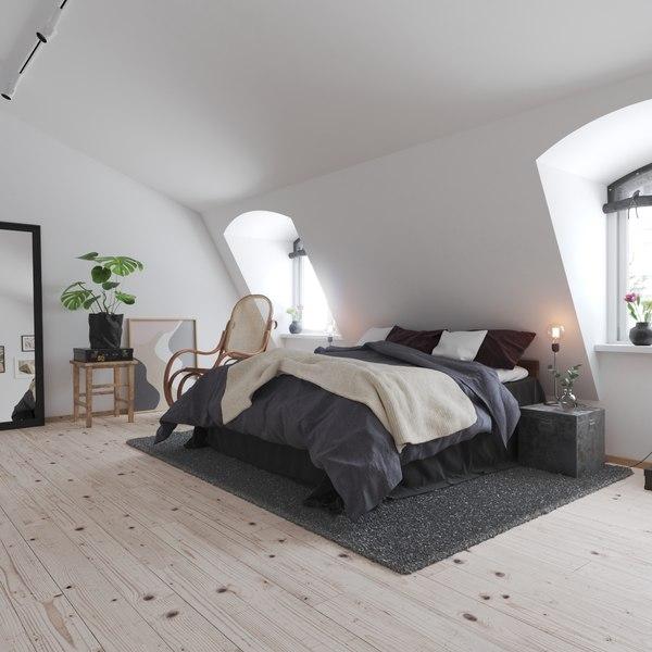 3D realistic apartment bedroom interior