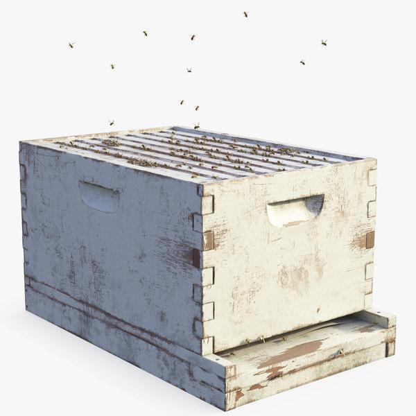 painted brood box cedar 3D