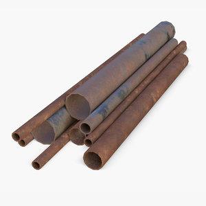 3D assets pipes steel industrial model