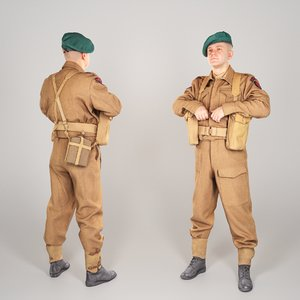 scanned british commando character 3D model