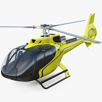 3D model light civil helicopter rigged