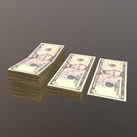 3D 5 dolar bill stack