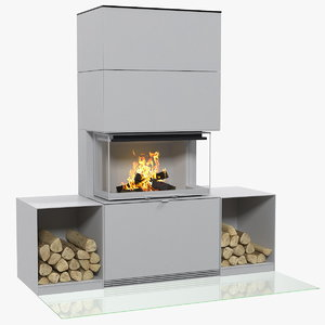 3D wood burning fireplace log model