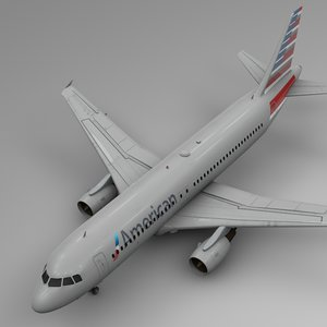 american airlines airbus a320 3D model