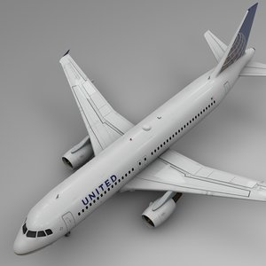 3D united airlines airbus a320