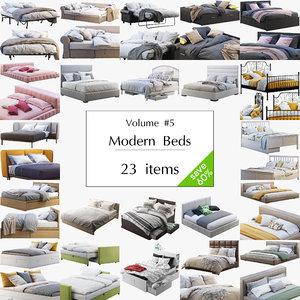 modern beds set 23 3D