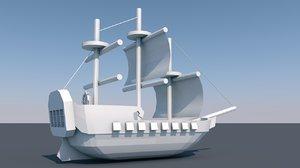 3D model pirate boat