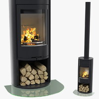 3D modern wood burning stove