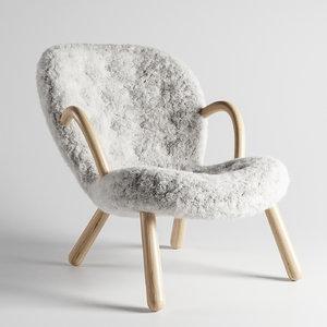 clam chair philip arctander 3D model