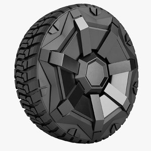3D model tesla cybertruck wheel