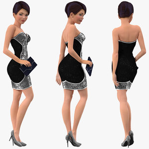 3D cartoon young girl party model