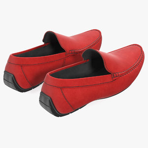 3D red suede driving shoe model
