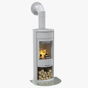 wood burning stove wall 3D model