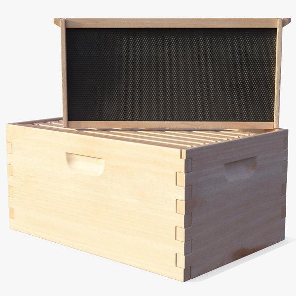 3D model wooden honey bee box
