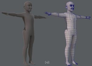 3D base character man model