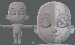 3D base mesh child character