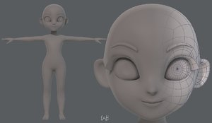 base mesh girl characterv08 3D model