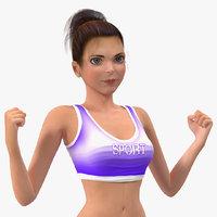 cartoon young girl sportive model