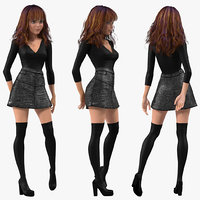 cartoon young girl youth 3D model