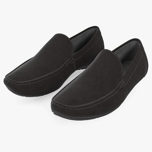 3D black suede moccasins model