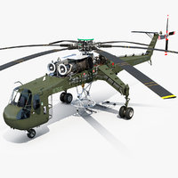 3D cargo helicopter sikorsky s-64
