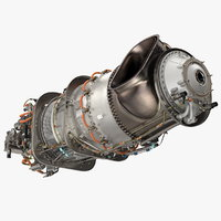 3D pratt whitney pt6c turboshaft
