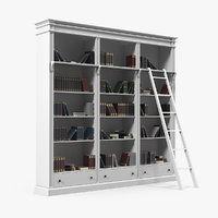 Classic White Bookcase with Books