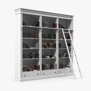 classic white bookcase books 3D model