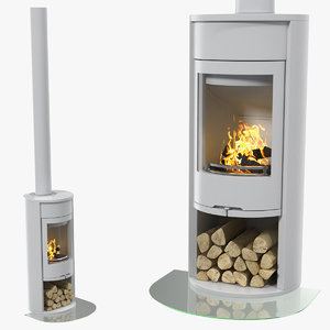 modern wood burning stove 3D